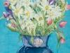 Daisy Bouquet in Cobalt Vase