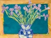Japanese Irises in Cobalt Vase